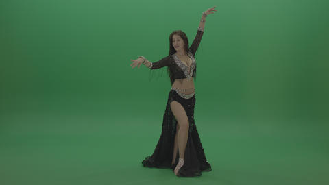 Amazing belly dancer in black wear display amazing dance moves over chromakey ライブ動画