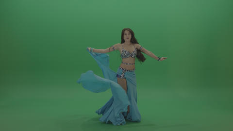 Radiant belly dancer in blue wear display amazing dance moves over chromakey ライブ動画