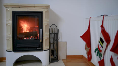domestic home wood burning stove Footage