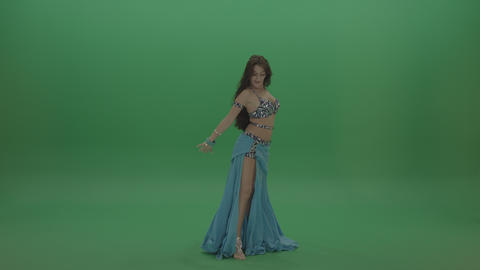 Beautiful belly dancer in blue display remarkable dance moves over chromakey ライブ動画