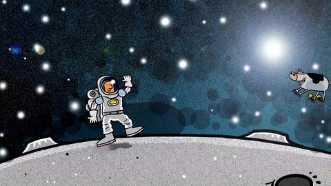 Spaceman with cow floying over head on moon GIF
