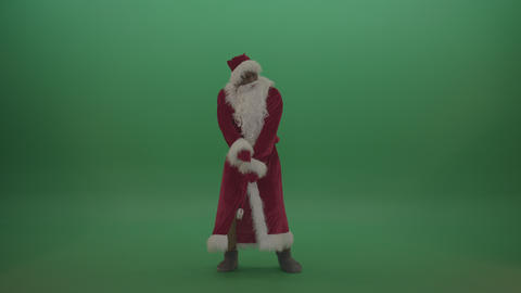 Man santa costume displays his doggy dance skills over green screen background Footage