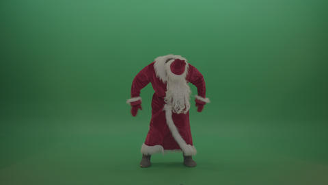 Man in santa costume displays his dance skills over chromakey background ライブ動画