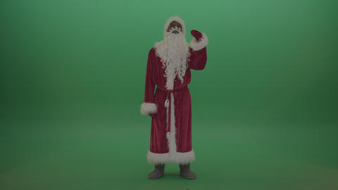 Man in santa costumes operates invisible screen over chromakey background ライブ動画