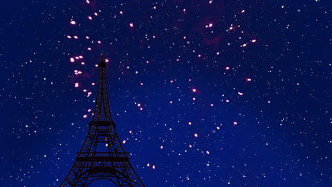 Fireworks by Eiffel Tower Animation