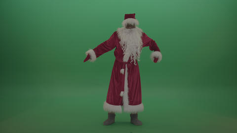 Man santa costume breakdancing over chromakey background Live Action