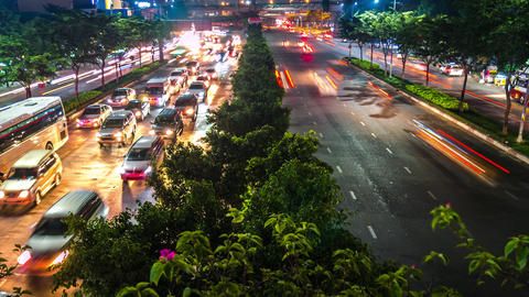 Time lapse of Ho Chi Minh City's night traffic, Ho CHi Minh City, Vietnam Live Action