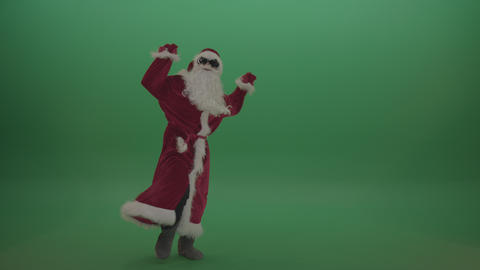 Santa in black glasses shows his dance skills over chromakey background ライブ動画