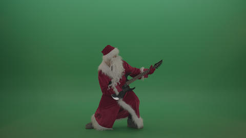 Rockstar santa plays guitar over chromakey background ライブ動画