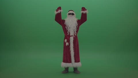 Santa in black glasses celebrates his victory over chromakey background ライブ動画