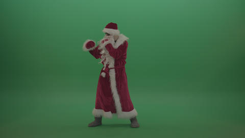 Santa in black glasses displays his boxing skills over chromakey background ライブ動画