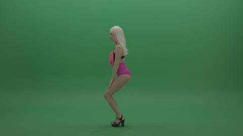 Gogo dancer in pink displays amazing dance skills over chromakey background Footage