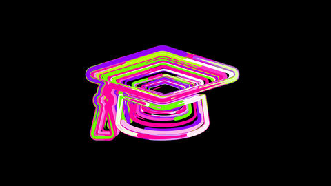 Circles gather in symbol graduation cap. After it crumbles in a line and moves Animation