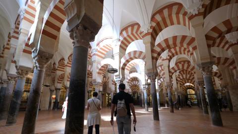 Cordoba, Spain. Circa December 2018. Interior view of the Mosque cathedral of Acción en vivo