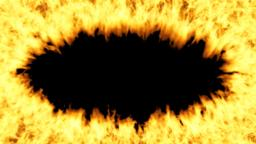 Oval fiery frame on a transparent background moves away from the viewer. Fire Animation