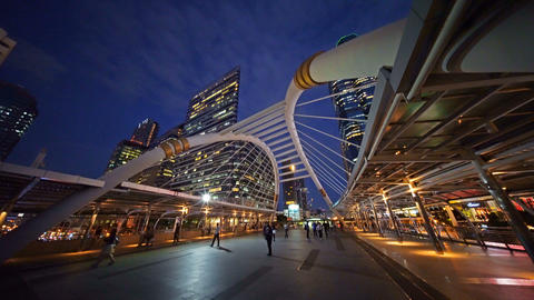 Chong Nonsi Bridge. Architectures in smart city for technology background. Footage