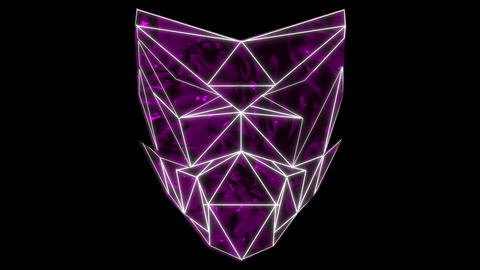 Poly masking Polygonal strobe colorful 3d lines mask in pink vj loop ライブ動画