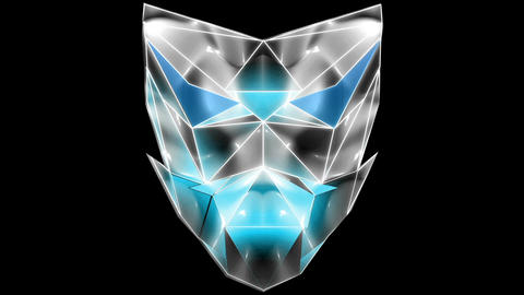 Blue EDM masking Polygonal strobe colorful 3d lines mask vj loop ライブ動画