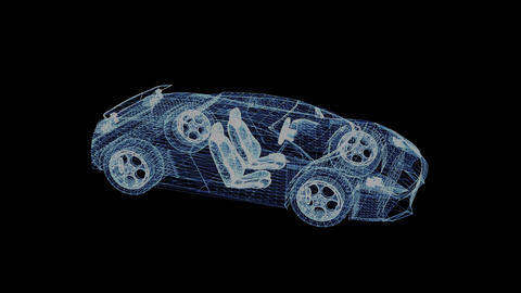 The hologram of a wireframe sport Car 영상물
