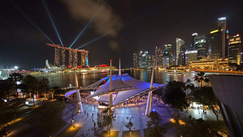 Esplanade Outdoor Theatre in Downtown Singapore city. Marina Bay area and lights Footage