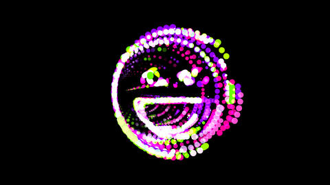 Circles gather in symbol laugh. After it crumbles in a line and moves to the Animation