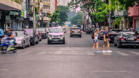 Time lapse of Ho Chi Minh City formerly known as Saigon early morning rush hour Footage
