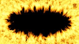 Oval frame of the fire on a transparent background. Fire animation is made with Animation