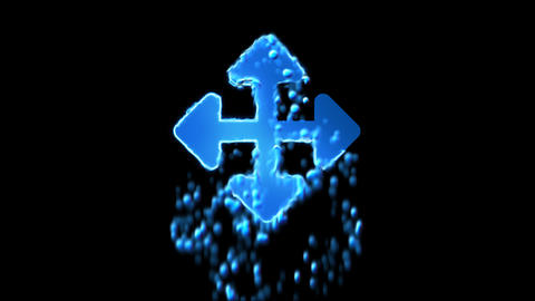 Liquid symbol arrows up down, right left appears with water droplets. Then Animation