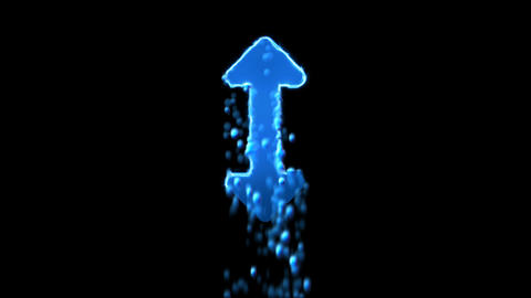 Liquid symbol arrows up down appears with water droplets. Then dissolves with Animation