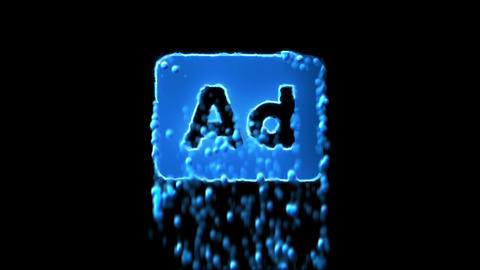 Liquid symbol Ad - Advertisement appears with water droplets. Then dissolves Animation