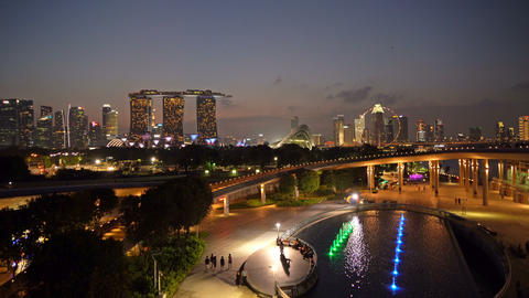 Marina Barrage. Downtown Singapore city in Marina Bay area. Financial district Live Action