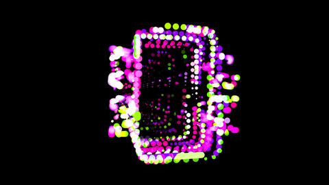 Circles gather in symbol microchip. After it crumbles in a line and moves to the Animation