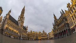 Brussels Belgium time lapse 4K, city skyline timelapse at Grand Place Square Footage