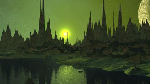 Sunrise and Moon over Alien Lake Animation