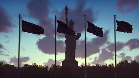 The American flags flutters in the wind on a sunrise…, Stock Animation