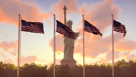 The American flags flutters in the wind on a sunrise against the blue sky and Animación