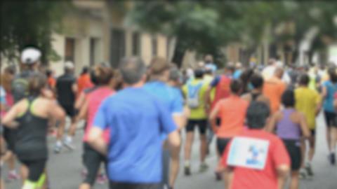Marathon Defocused Runners From The Back Footage
