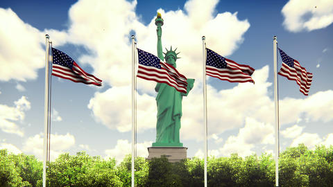 The American flags flutters in the wind on a Sunny day against the blue sky and Animation