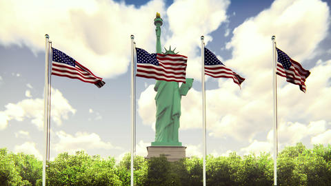 The American flags flutters in the wind on a Sunny day... Stock Video Footage