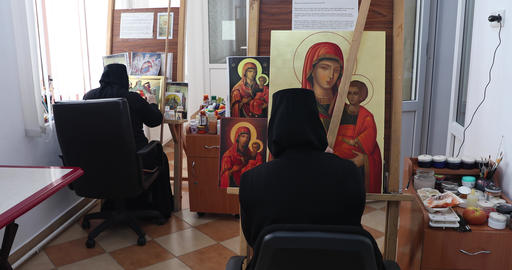 Nuns at the monastery painted Footage