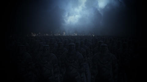 Large Medieval Army Ready for Battle Footage