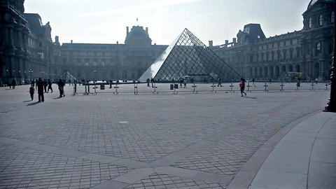 Pyramid at the Louvre Museum in Paris, France Stock Video Footage