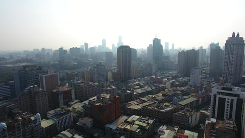aerial view of smog and air pollution in city Live Action