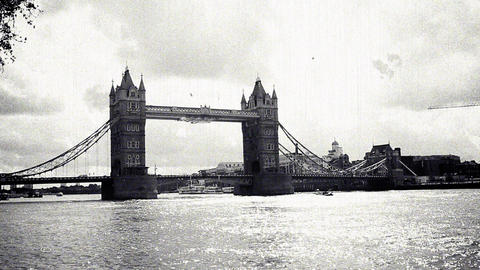 Vintage Style Tower bridge on the River Thames, London, England Footage