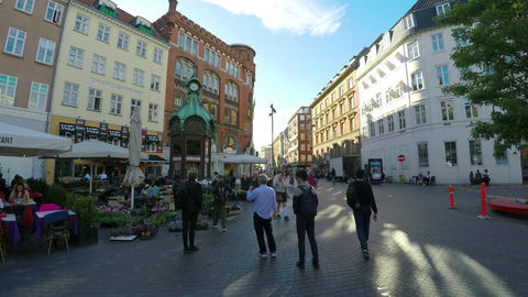 Copenhagen Center. Old city. Architecture. Houses, streets, neighborhoods. Footage