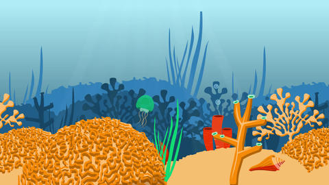 Looping fish and corals cartoon Animation