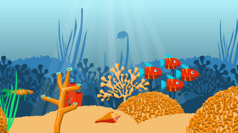 [alt video] Looping fish and corals cartoon