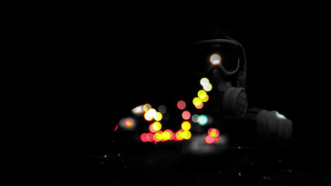 Driver In Respirator And Blured Traffic On BG stock footage