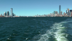 USA New York City 397 Manhattan and Jersey Skyline from Hudson River Upper Bay Footage