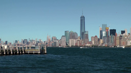USA New York City 406 Liberty Island pier and Manhattan skyline Footage